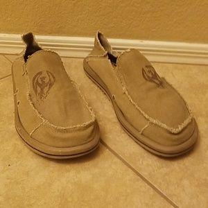 Skechers canvas slip on shoes, tan, size 9
